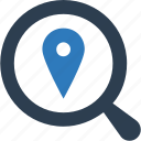 find location, magnifier, magnifying place, map pin in magnifier, place, view location, view place icon