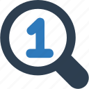 browsing, find 1, find one, magnifier, number one, position 1 icon