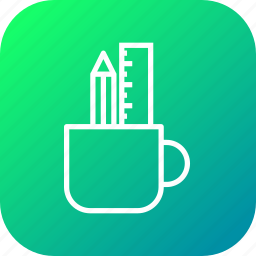 design, drawing, holder, mug, pencil, ruler, write icon