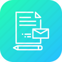 document, email, envelope, mail, paper, pen, write icon