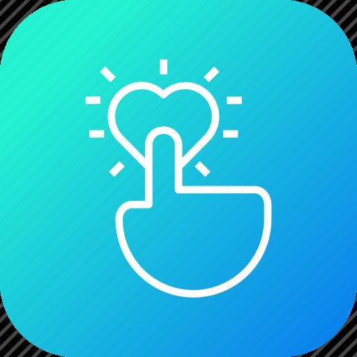 click, hand, heart, like, marketing, pay, per icon