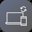 computer, mobile, sync, responsive, synchronization, design, seo icon