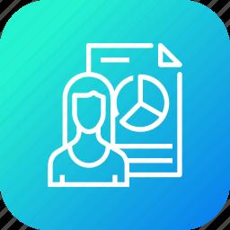 analysis, chart, document, performance, progress, statics, woman icon