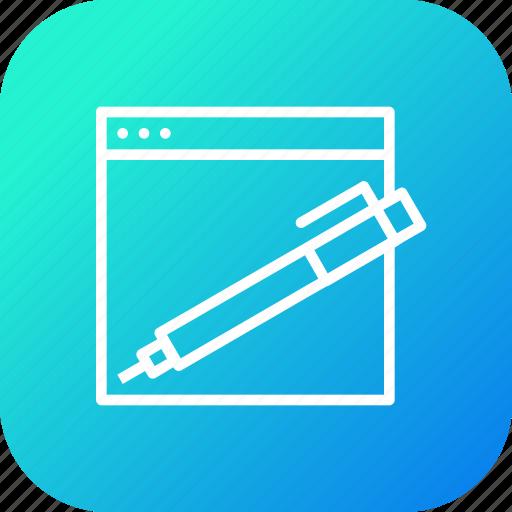 copyright, edit, pen, seo, tools, webpage, website icon