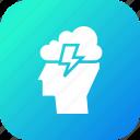 cloud, idea, innovation, invention, lightning, man, person
