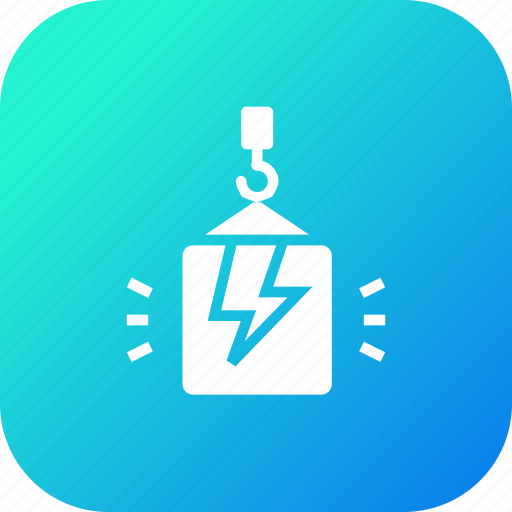 bolt, box, climb, crain, electricity, package, thunder icon
