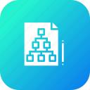 chart, document, flaw, hierarchy, paper, pen, pencil icon