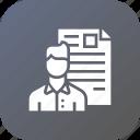 avatar, document, employee, man, portfolio, resume, shortlisted