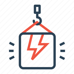 bolt, climb, crain, lift, package, thunder, weight icon