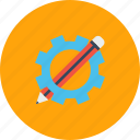 design, drawing, gear, geometry, pencil, setting icon