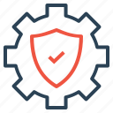 gear, protect, safe, secure, settings, shield icon
