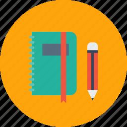 education, folder, log, notebook, office, pen, pencil icon