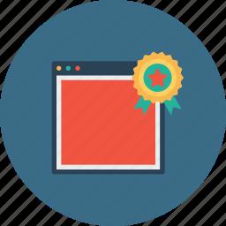 award, badge, bookmark, favorite, seo, star, window icon