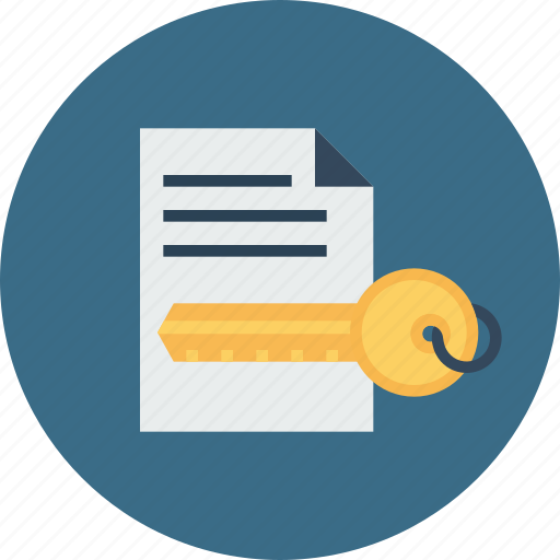 document, key, paper, password, private, protected, secure icon