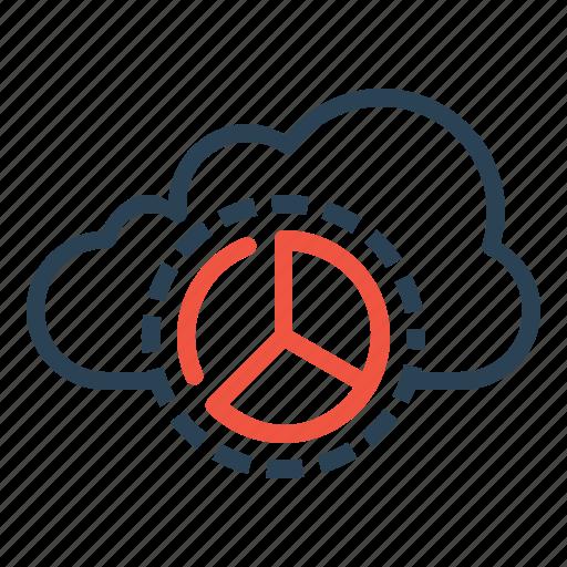 analysis, cloud, optimization, performance, pie chart, report, statics icon