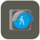 access, go, light, man, night, road, traffic icon