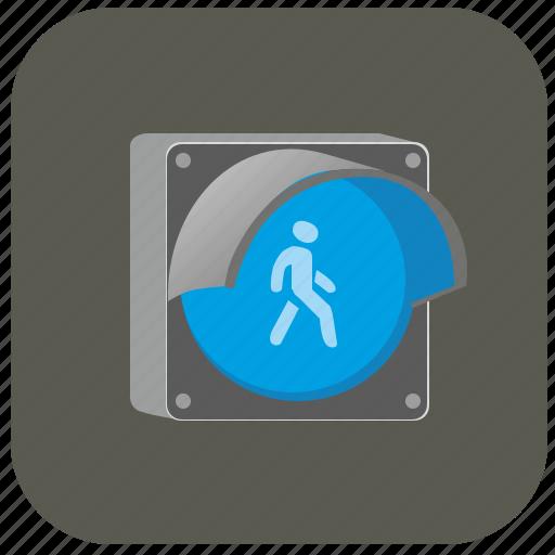 access, go, light, man, night, road, traffic icon