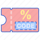 code, discount, store icon