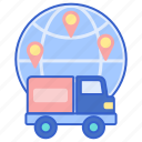 global, shipping, store icon