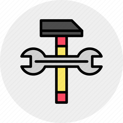 build, engineering, hammer, repair, service, settings, wrench icon