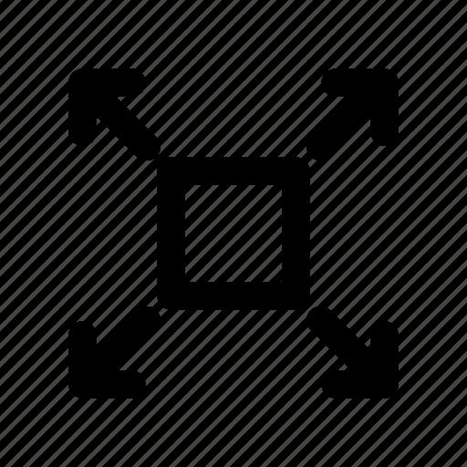 arrow, border, box, direction, sign icon