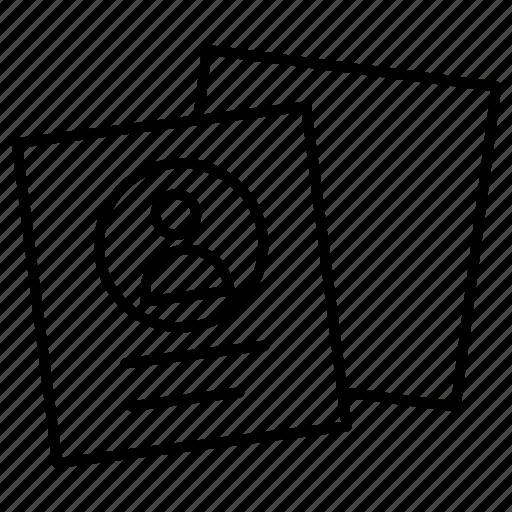 cv, document, profile icon