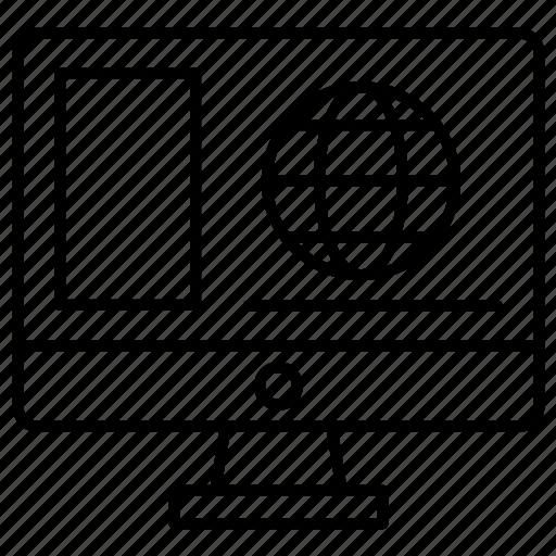 computer, globe, internet icon
