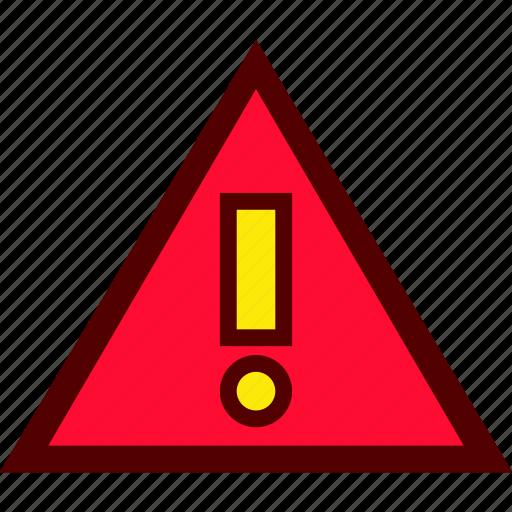 alert, attention, danger, error, warning icon