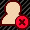 avatar, delete, human, person, remove, user icon
