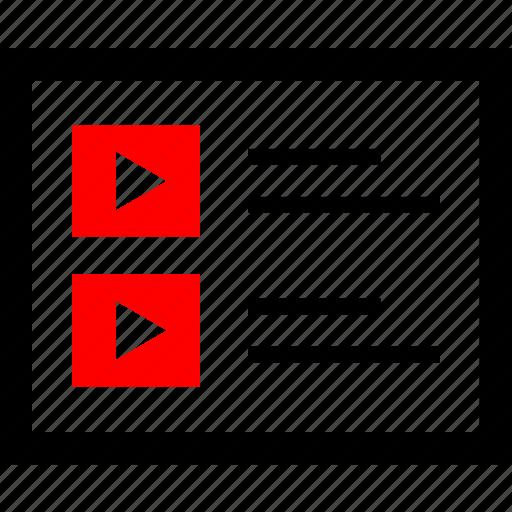 design, player, playlist, youtube icon