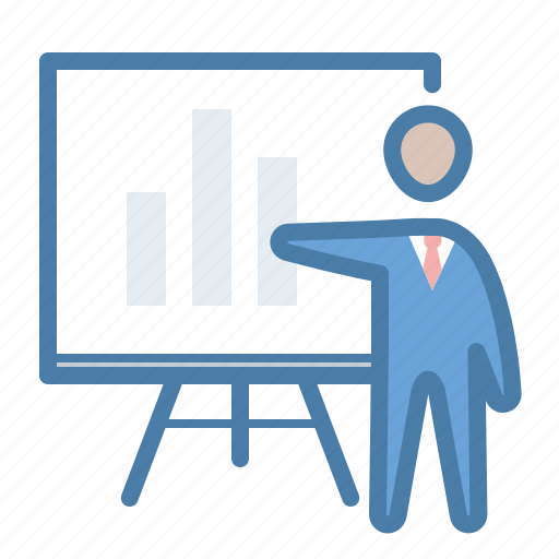 analytics, blackboard, education, presentation, suit, teacher, tutorial icon