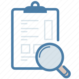 analytics, clipboard, document, exam, magnifier, research, search icon