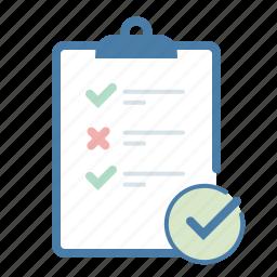 checklist, checkmark, clipboard, report, survey, tasks, todo list icon