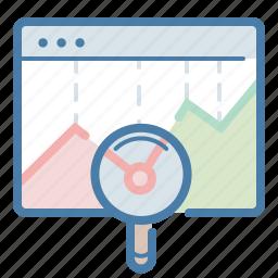 chart, graph, magnifier, monitoring, sales report, seo, statistics icon
