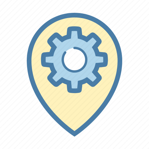 cog, gear, location, marker, navigation, pin, settings icon