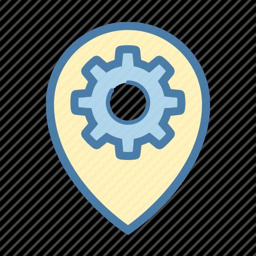 location, navigation, pin, settings icon