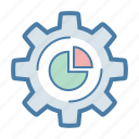 analytics, gear, pie chart, settings icon