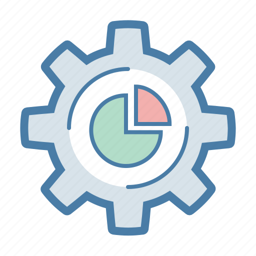 analytics, gear, options, pie chart, report, sales, settings icon