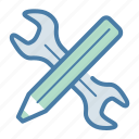 creativity, custom design, pencil, wrench icon