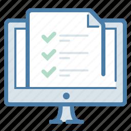 checklist, computer, document, file, screen, survey, tasks icon
