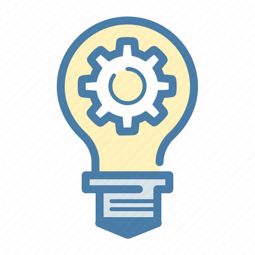 build, bulb, gear, idea, invent, light, settings icon