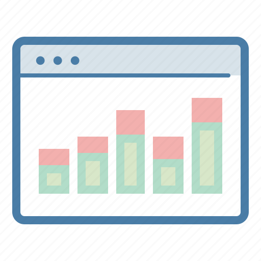analytics, browser, data, online presence, reports, sales report, statistics icon