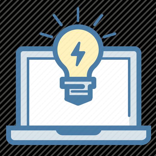 bulb, energy, idea, invent, laptop, light, startup icon