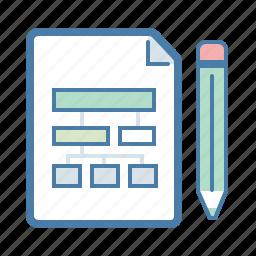 document, file, flowchart, pencil, scheme, sitemap, workflow icon