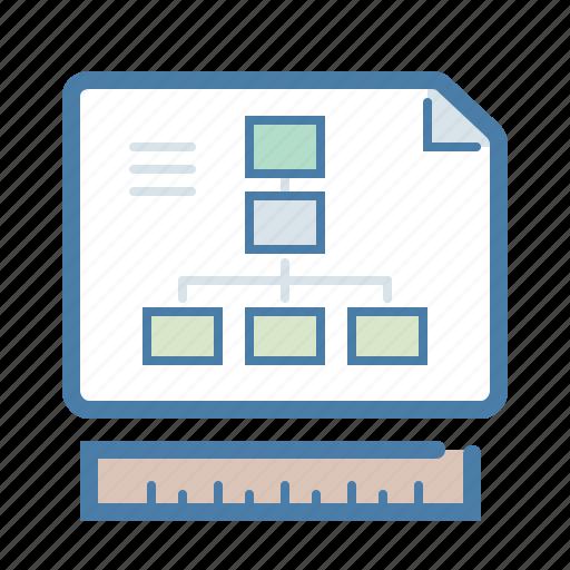 building, development, document, prototype, ruler, scheme, sitemap icon