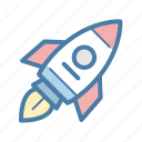 brand, project launch, rocket, startup icon