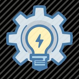 bulb, develop, gear, idea, light, settings, work on idea icon