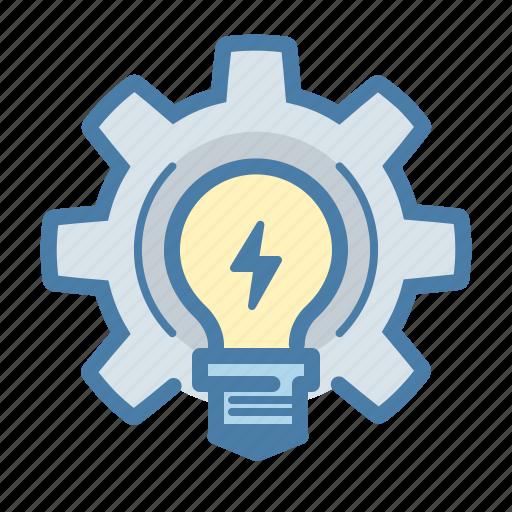 bulb, develop, gear, work on idea icon
