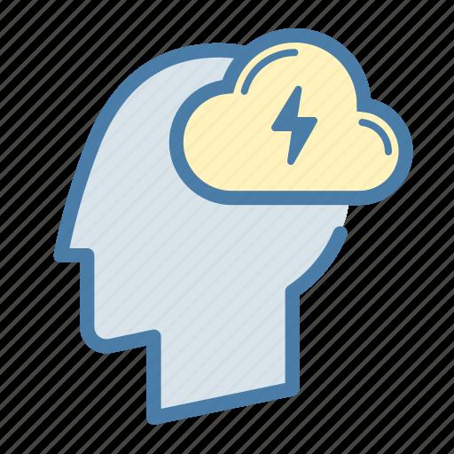brain, brainstorm, creative, creativity, head, lightning, mind icon