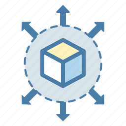 arrows, cube, data, data management, expand, share, sharing icon